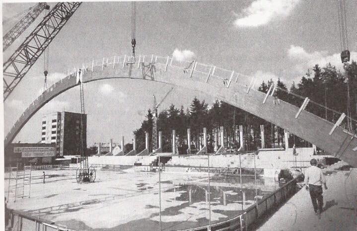 Bau der Selber Eishalle, 1977